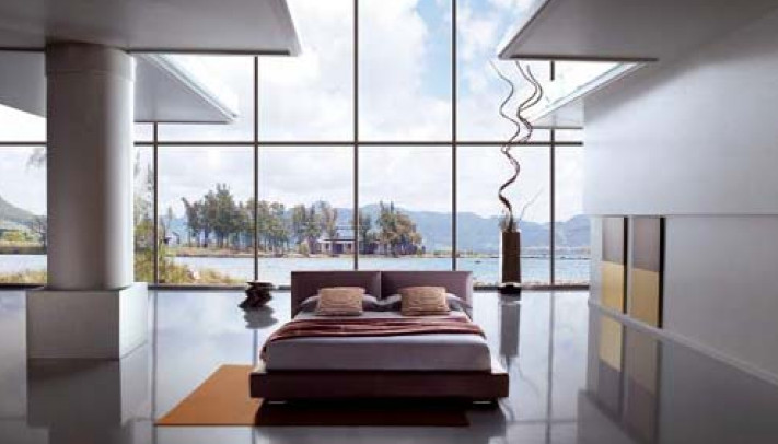 large bedroom glass windows