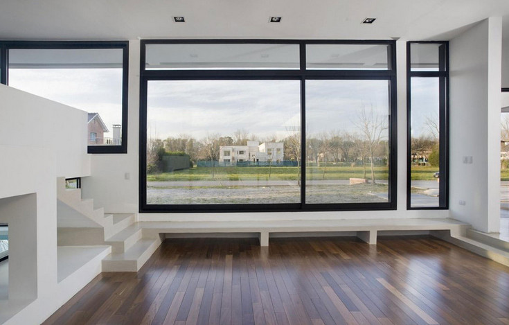 modern glass windows installed at home